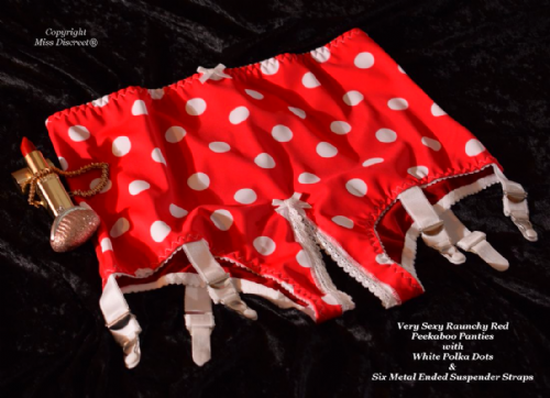 Sexy Red Open Crotch Peekaboo Panties with White Polka dots & Six Metal Suspenders UK 10 to 24